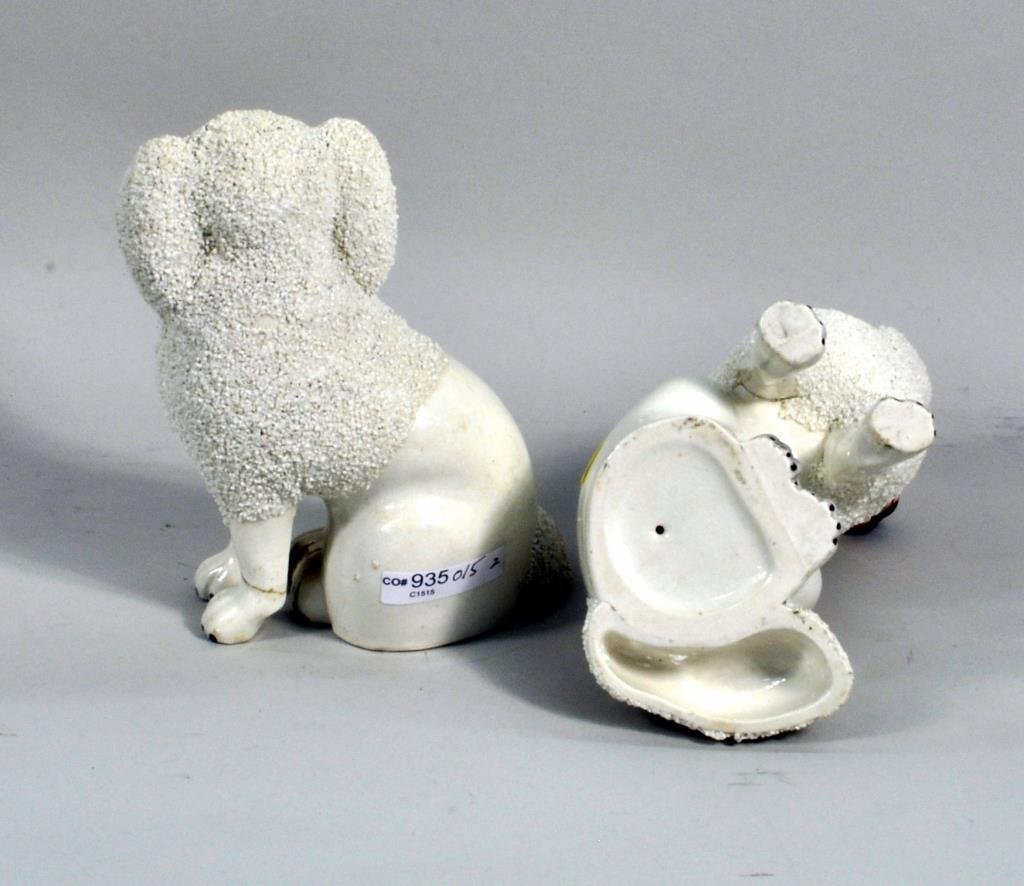 Pair Small Staffordshire Poodles - 2