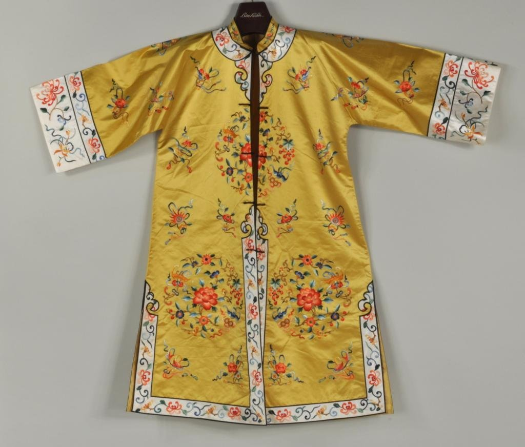 Asian Embroidered Silk Robe