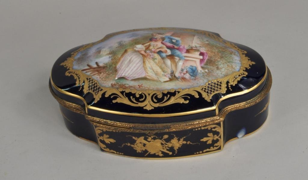 French Porcelain Sevres Style Covered Box