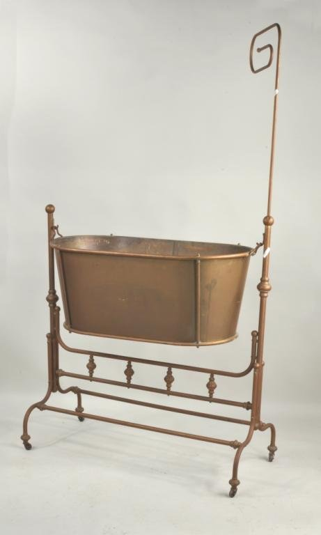 French Victorian Brass & Copper Cradle