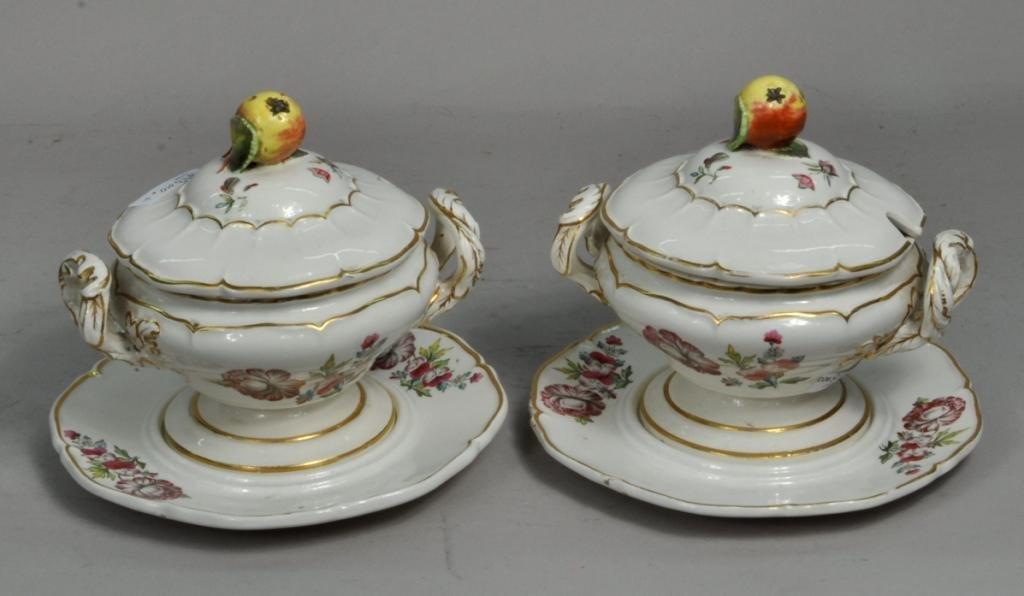Pair Coalport Lidded Tureens With Underplates