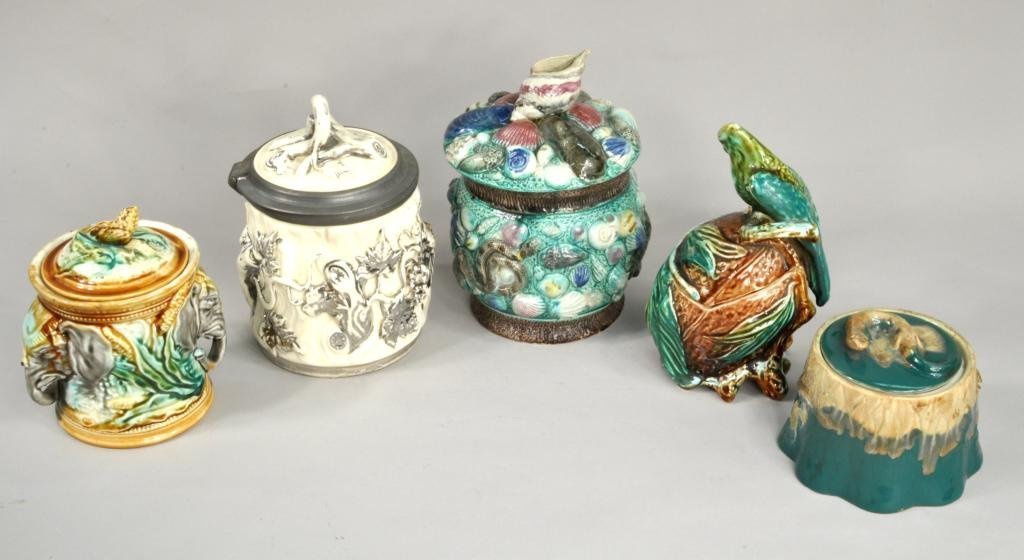 Three Majolica Jars With Two Other Jars
