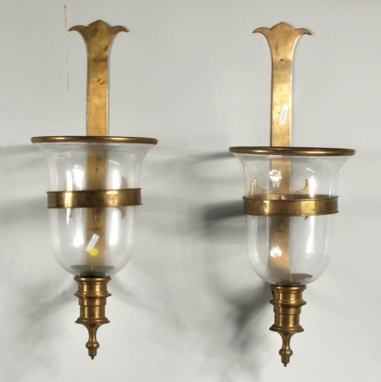 Pair Large Glass & Brass Strapwork Wall Sconces