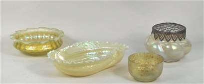 Four Art Glass Items Circa 1900