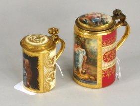 Two Royal Vienna Porcelain Steins