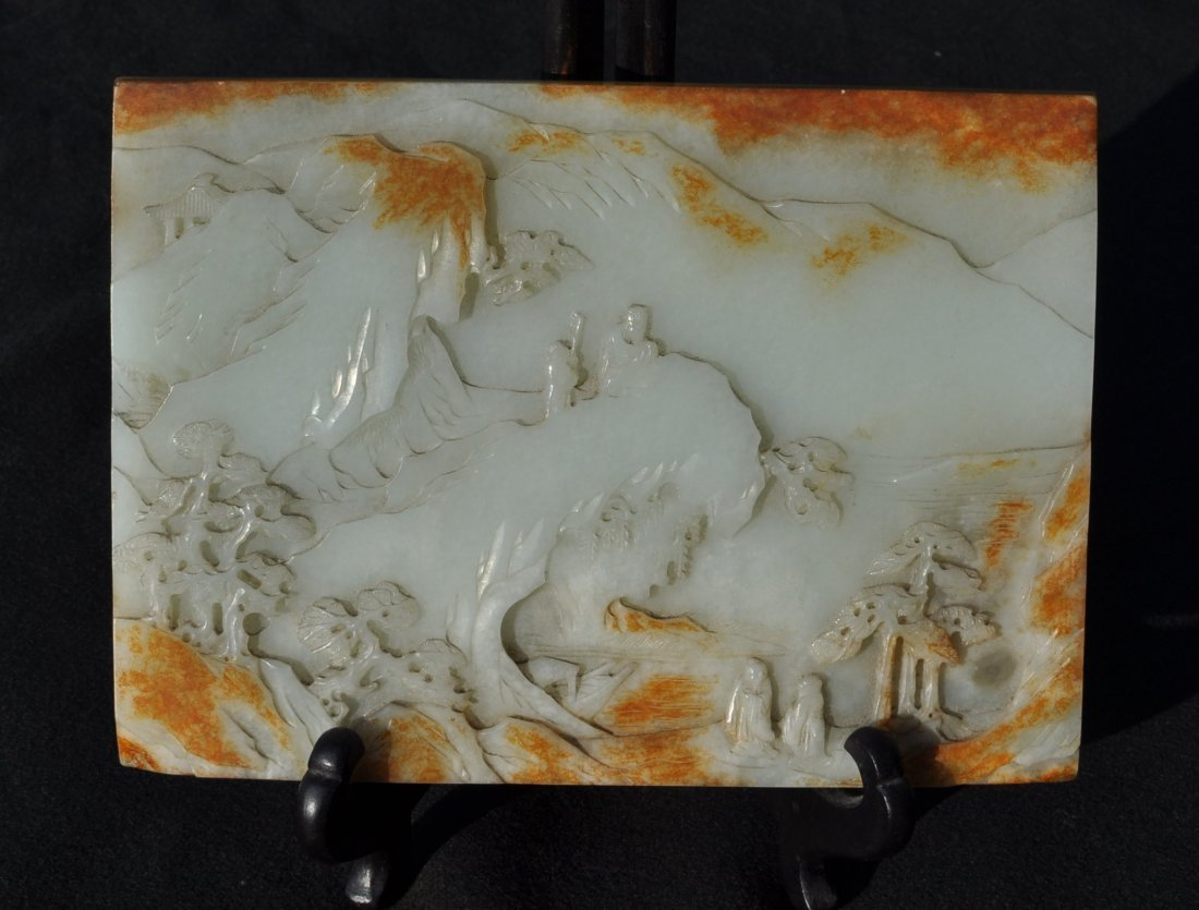 Chinese Carved Two Sided Jade Panel