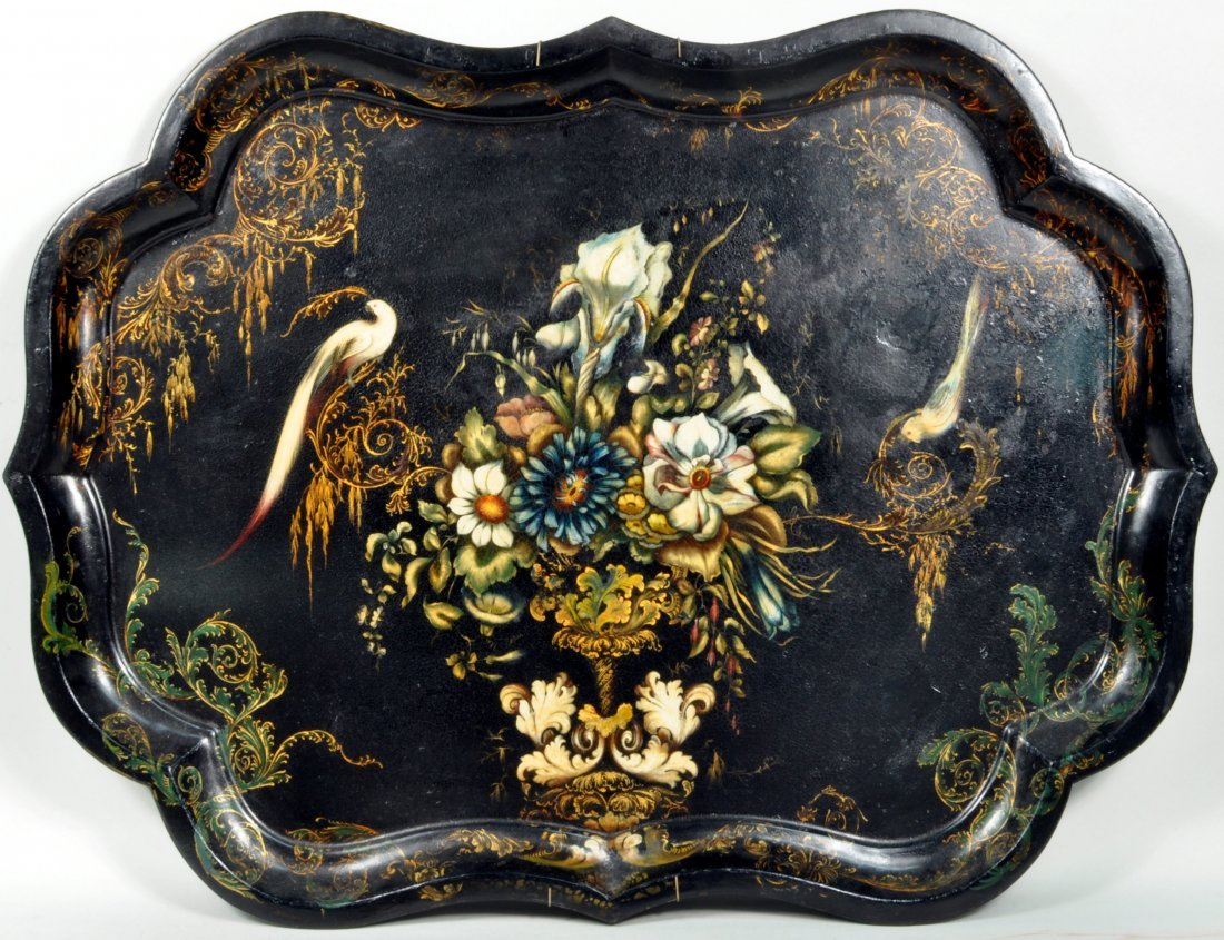 Paint Decorated Toleware Serpentine Tray, 19th C.