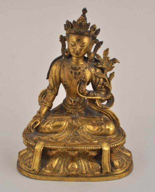 Tibetan Gilt Bronze Seated Figure of Tara