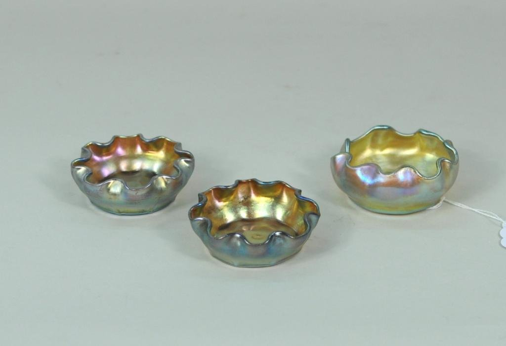 Three Louis Comfort Tiffany Glass Salts