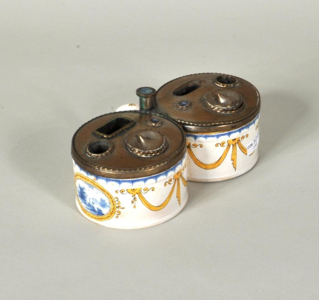 Continental Pottery & Brass Inkwell