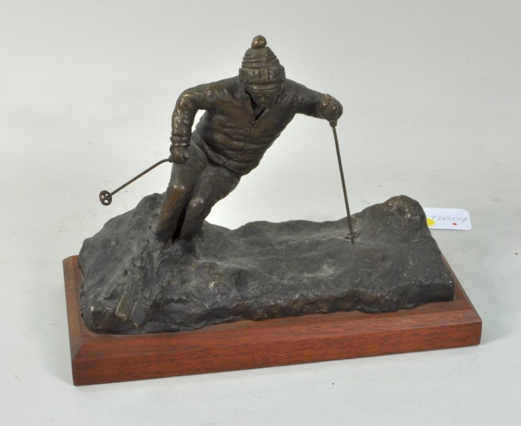 "Gabriel Grun Yantorno, ""Skier"" Signed Bronze"