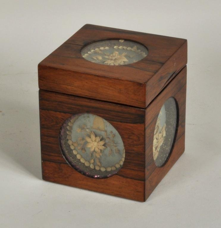 English Rosewood Tea Caddy, Paperwork Panels