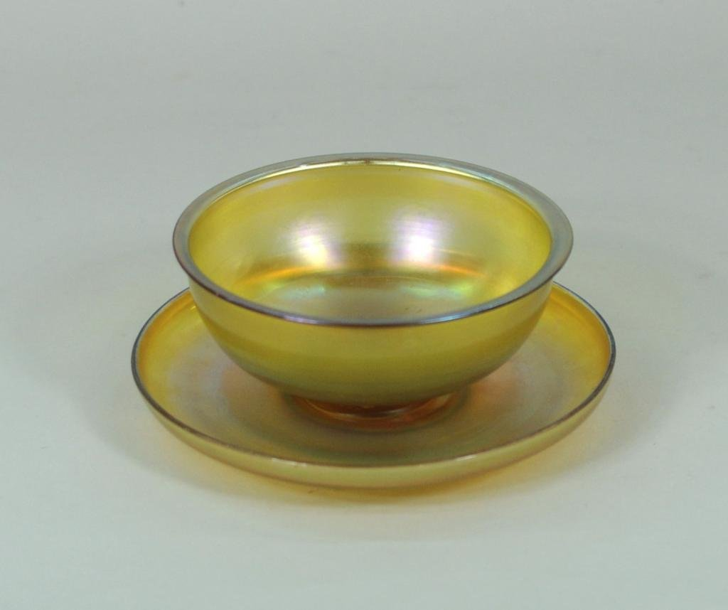 Tiffany Favrile Glass Finger Bowl and Under Plate