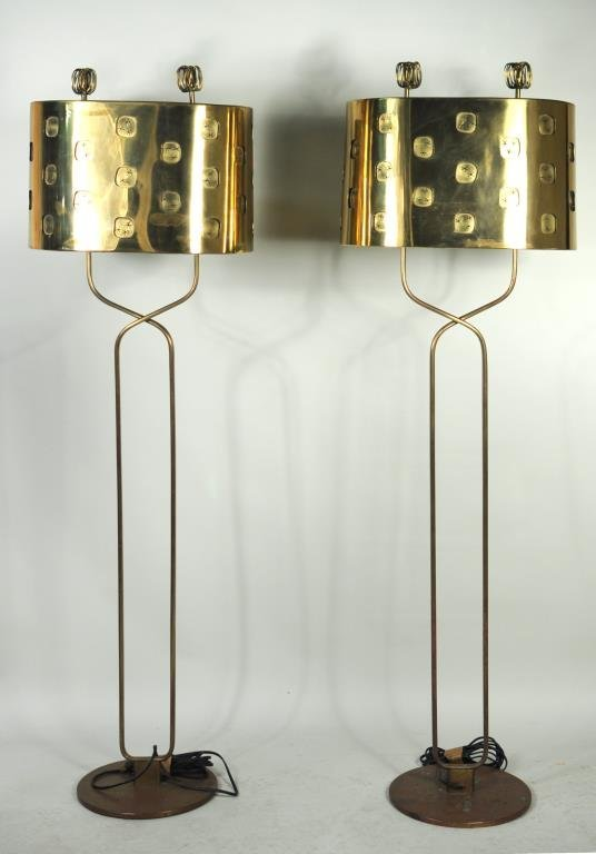 Pair Paavo Tynell Brass Floor Lamps