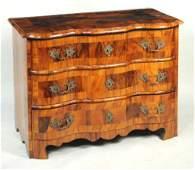 S. German Baroque Walnut Veneered Pine Commode