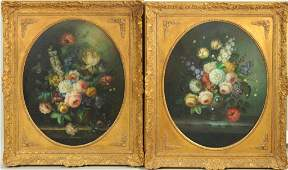 Pair Dutch Old Master Style Floral Paintings, O/C