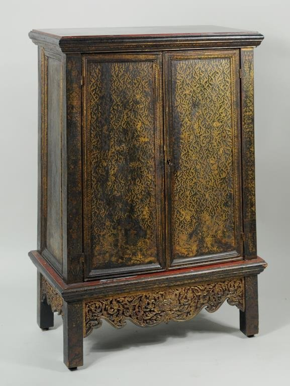 Thai Gilt Decorated Ebonized Tapering Cabinet