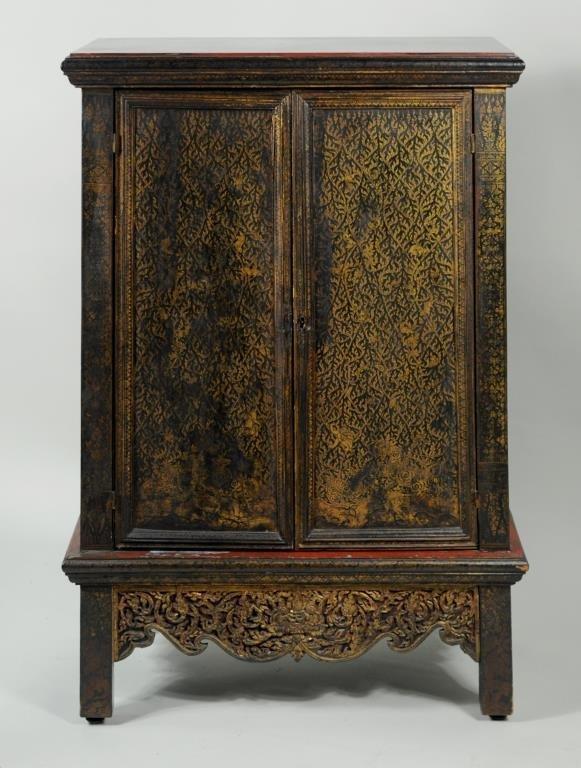 Thai Gilt Decorated Ebonized Tapering Cabinet - 2
