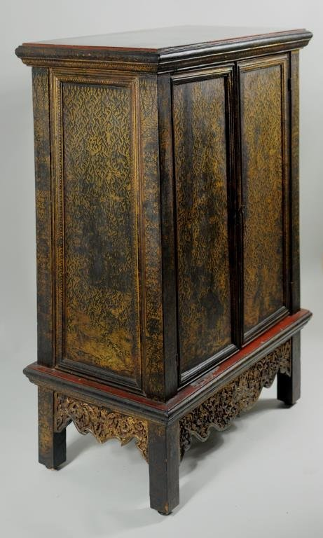 Thai Gilt Decorated Ebonized Tapering Cabinet - 3