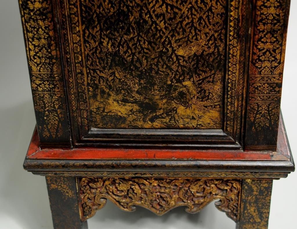 Thai Gilt Decorated Ebonized Tapering Cabinet - 5