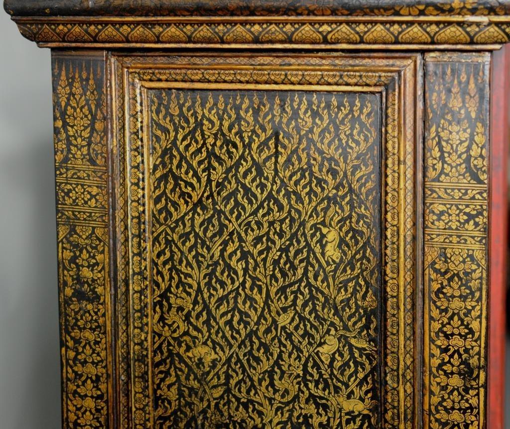 Thai Gilt Decorated Ebonized Tapering Cabinet - 6