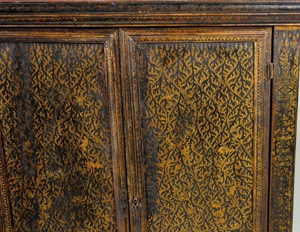 Thai Gilt Decorated Ebonized Tapering Cabinet - 9