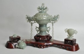 Chinese Carved Jade Covered Vase Group