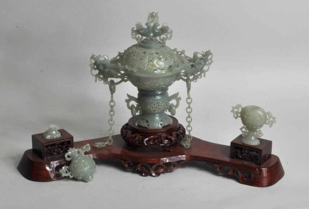 Chinese Carved Jade Covered Vase Group - 2