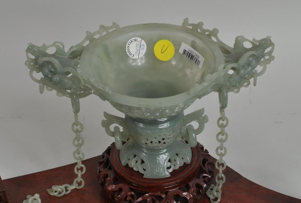 Chinese Carved Jade Covered Vase Group - 4