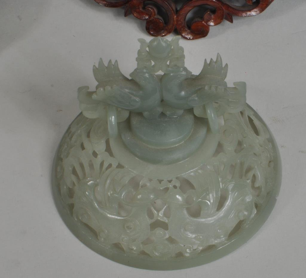 Chinese Carved Jade Covered Vase Group - 5