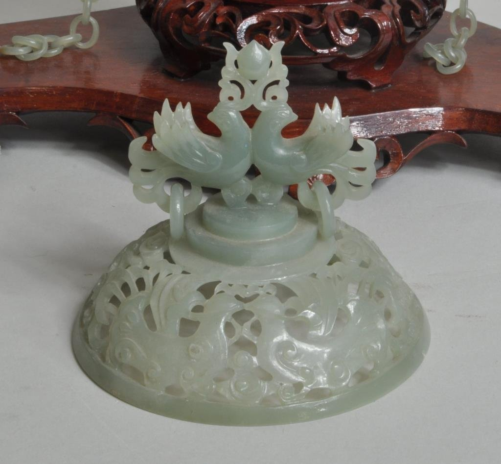 Chinese Carved Jade Covered Vase Group - 6
