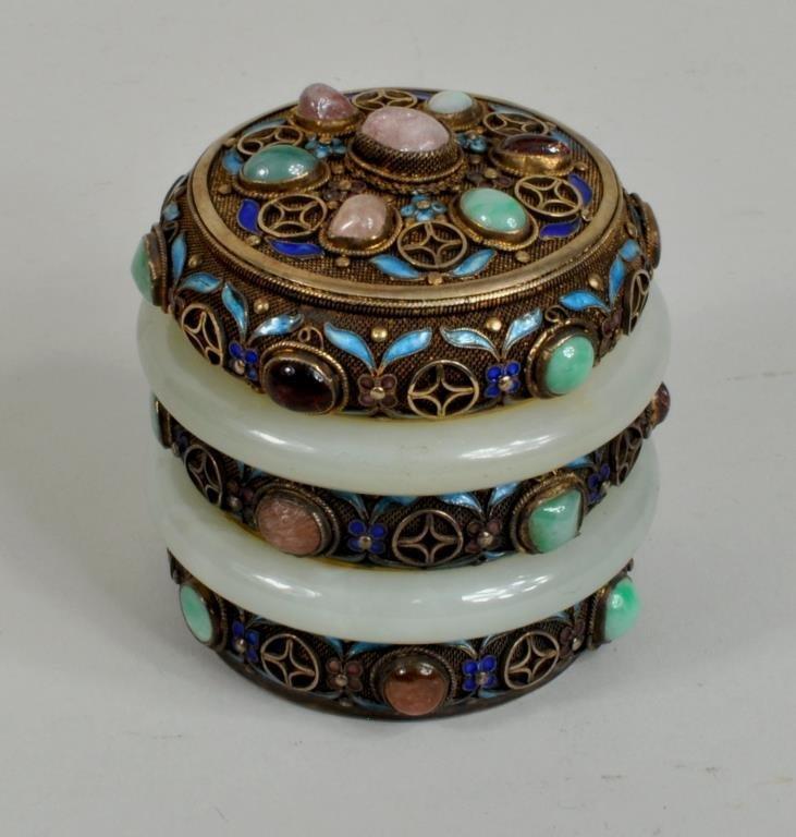 Chinese Silver Gilt Enamel/Jade Mounted Box