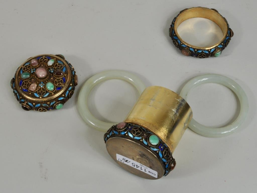 Chinese Silver Gilt Enamel/Jade Mounted Box - 3