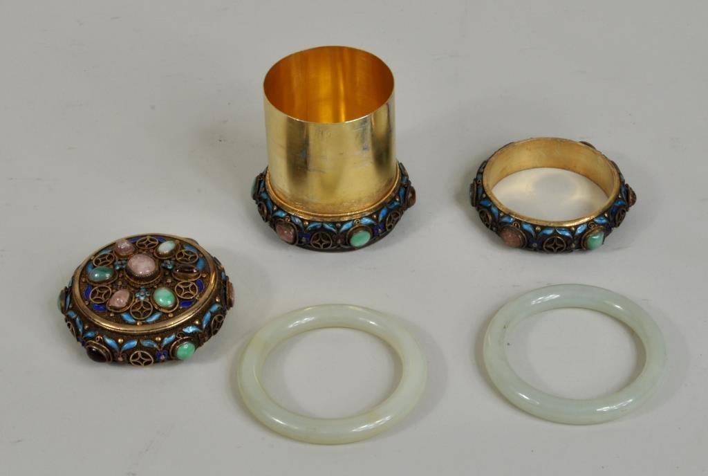 Chinese Silver Gilt Enamel/Jade Mounted Box - 4