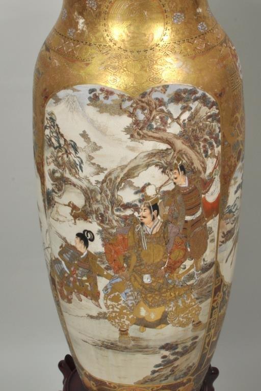 Japanese Porcelain Satsuma Palace Vase/Stand - 2