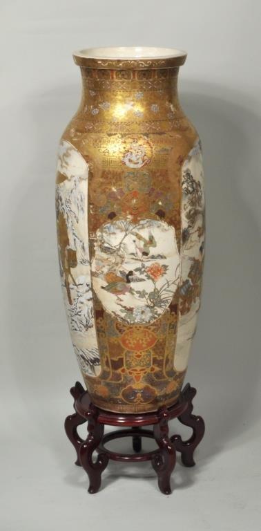 Japanese Porcelain Satsuma Palace Vase/Stand - 4
