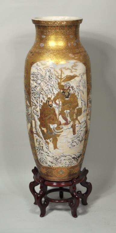 Japanese Porcelain Satsuma Palace Vase/Stand - 5