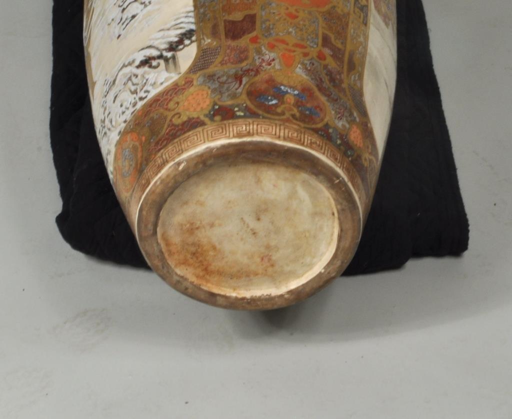 Japanese Porcelain Satsuma Palace Vase/Stand - 6