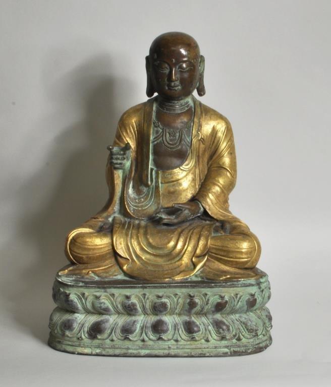 Chinese Parcel Gilt Bronze Lohan Figure