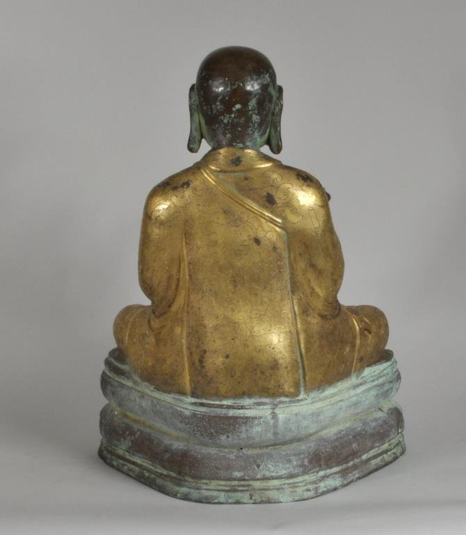 Chinese Parcel Gilt Bronze Lohan Figure - 2