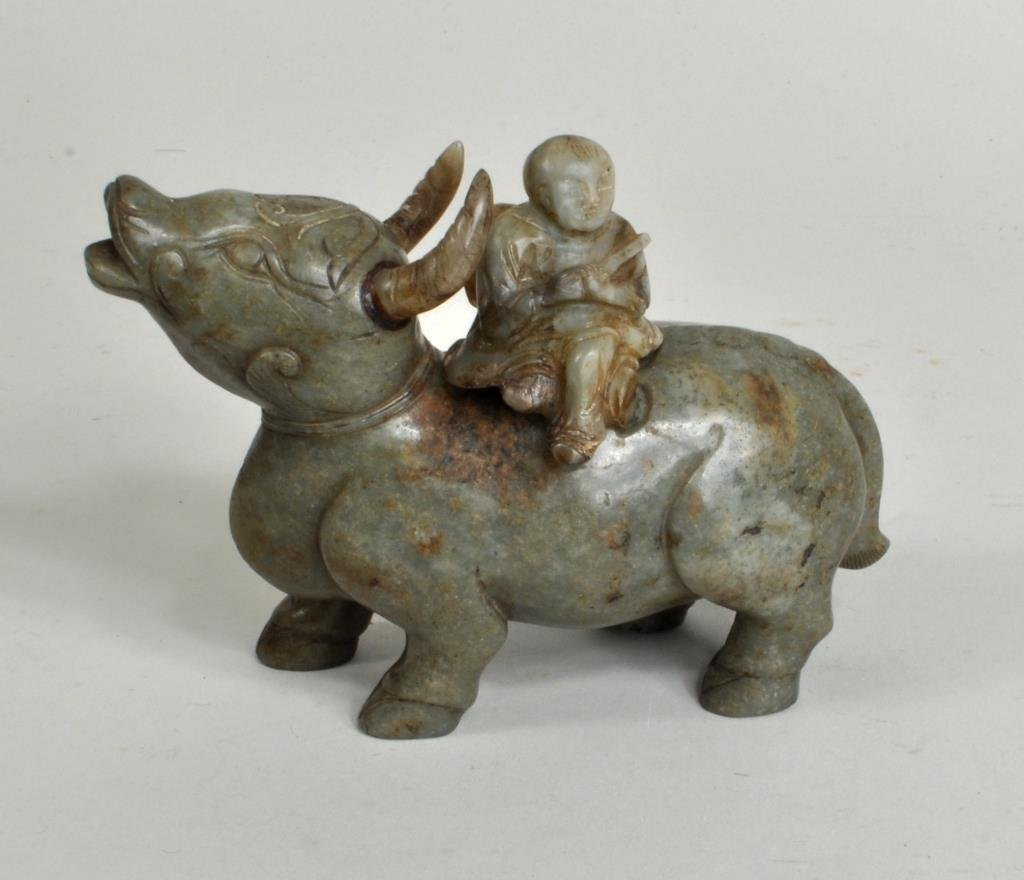 Chinese Jade or Hardstone Bull Container