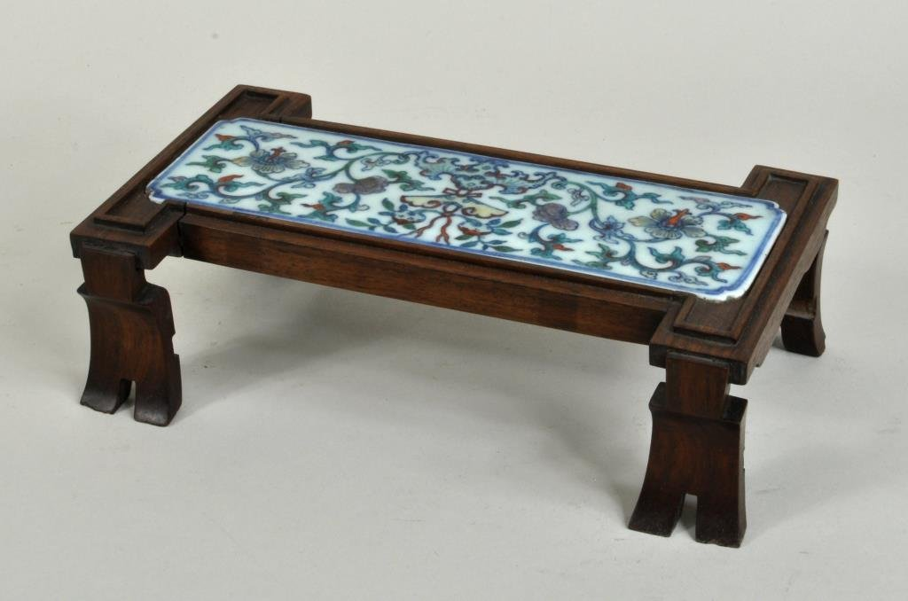 Chinese Porcelain Plaque Mounted in Wood Stand