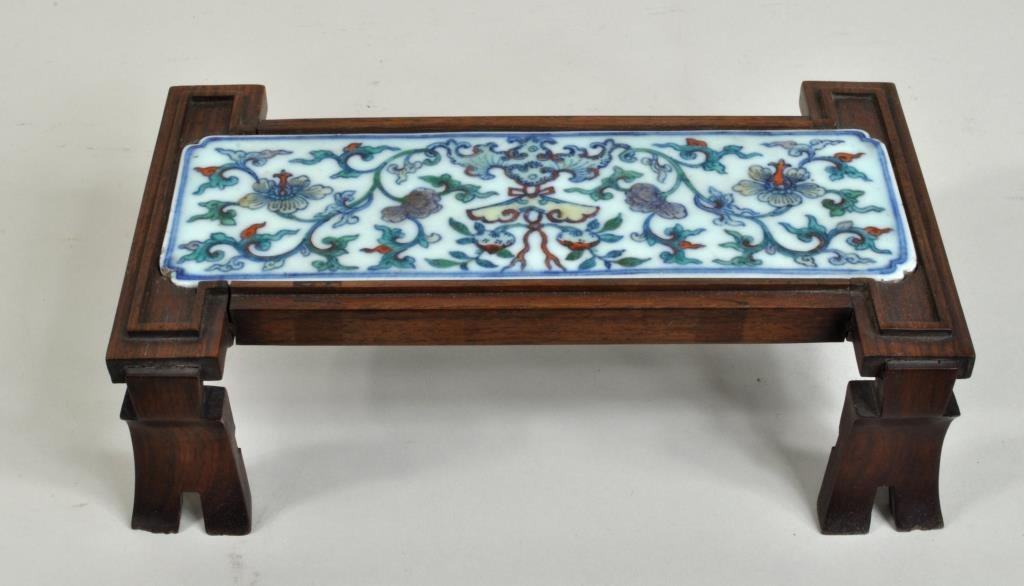 Chinese Porcelain Plaque Mounted in Wood Stand - 2