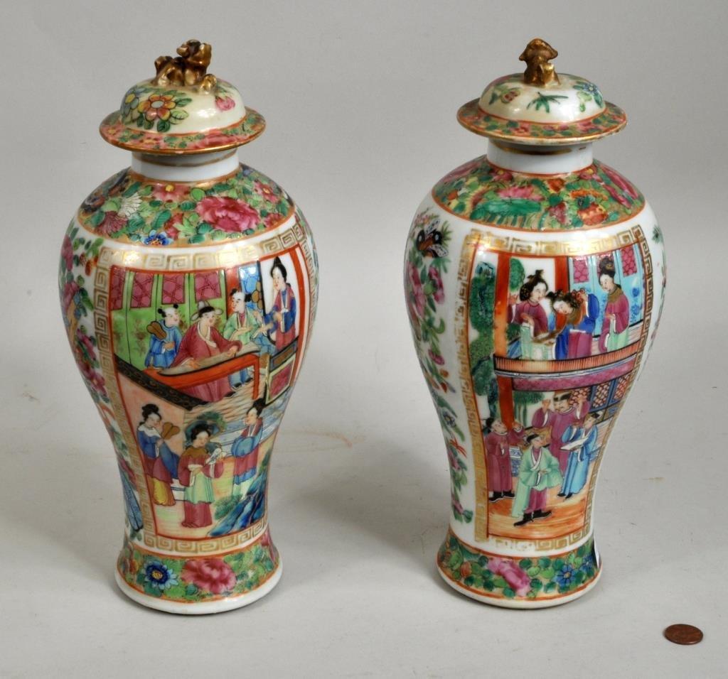 Pair Chinese Rose Mandarin Lidded Urns