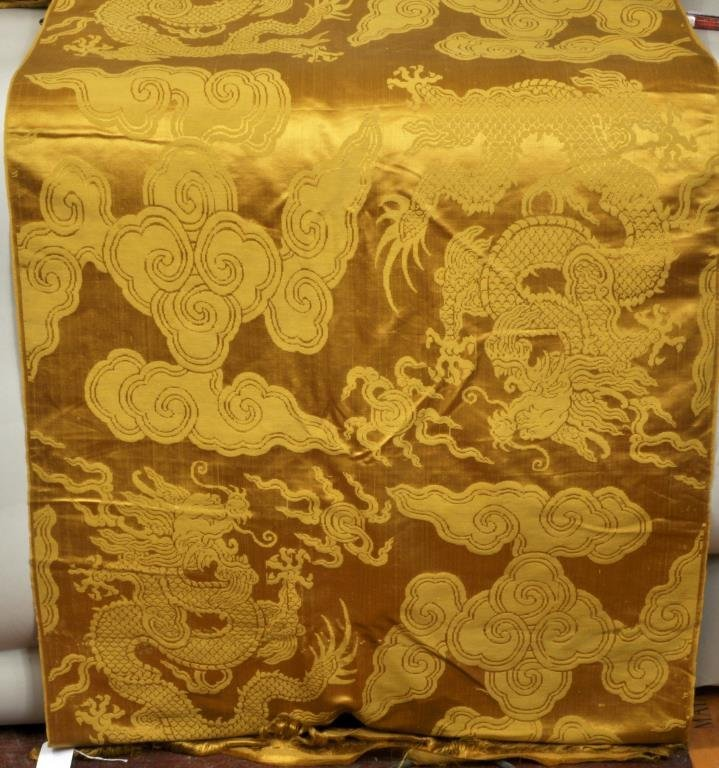 Gold Imperial Dragon Patterned Chinese Silk