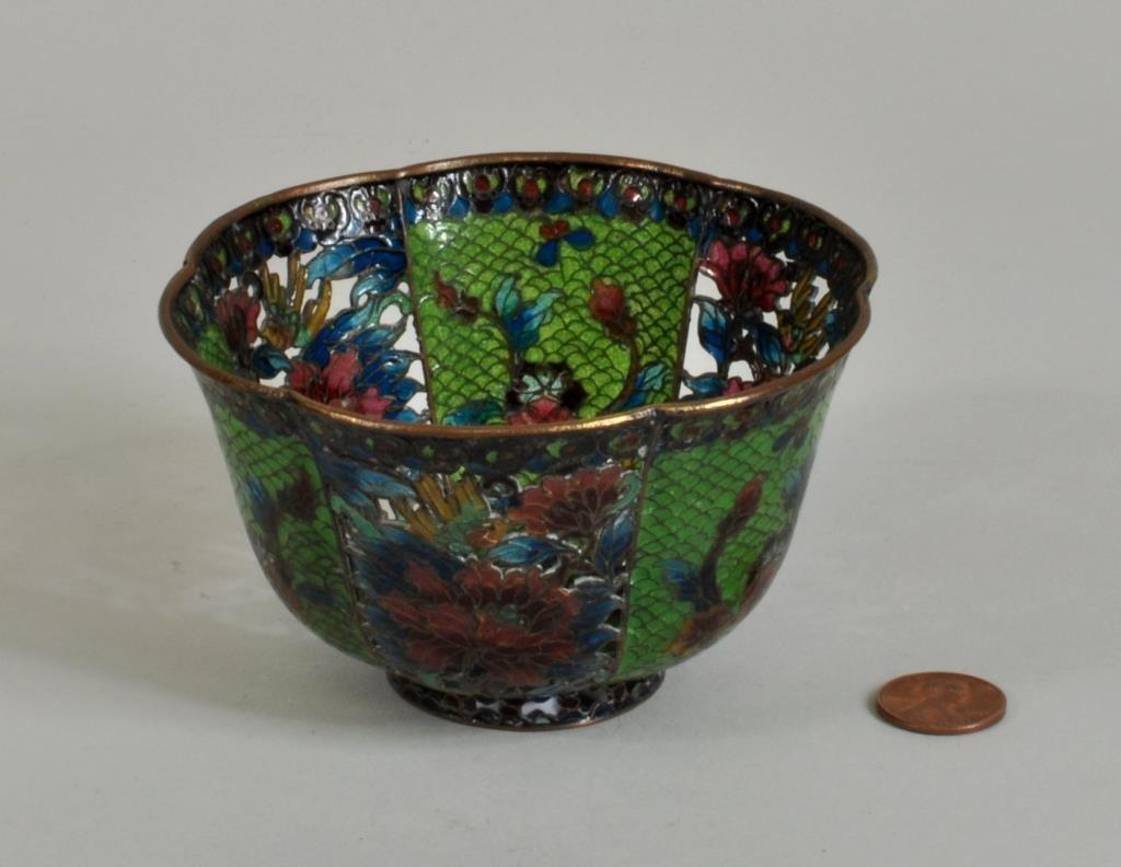 Chinese Plique-A-Jour Enameled Bowl