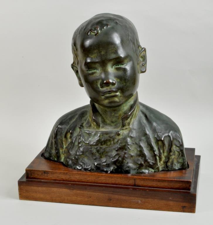 "Asian School Bronze Sculpture,""Head of Young Boy"""