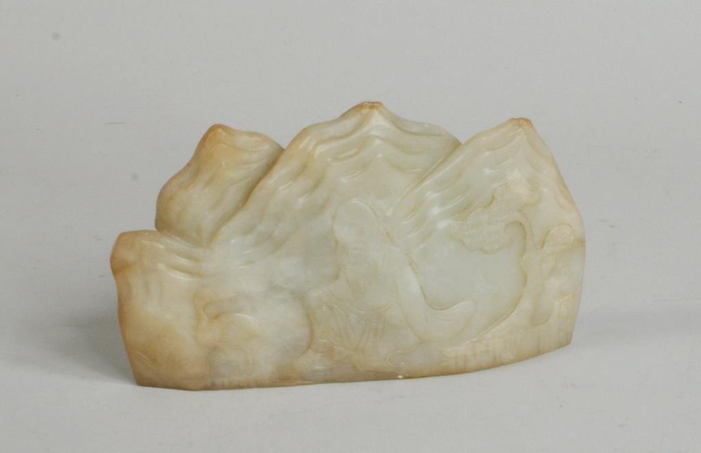 Chinese White Jade Carving of Sage & Crane