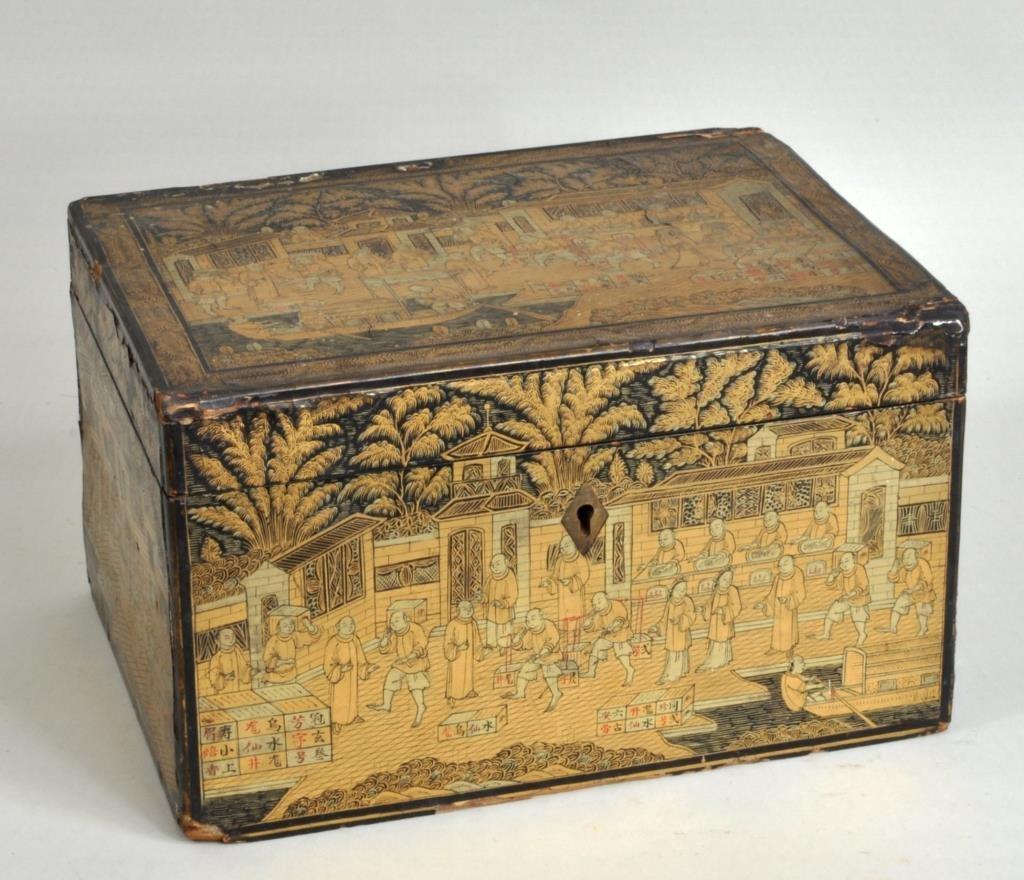 Chinese Export Lacquer Tea Box, Tea Scenes