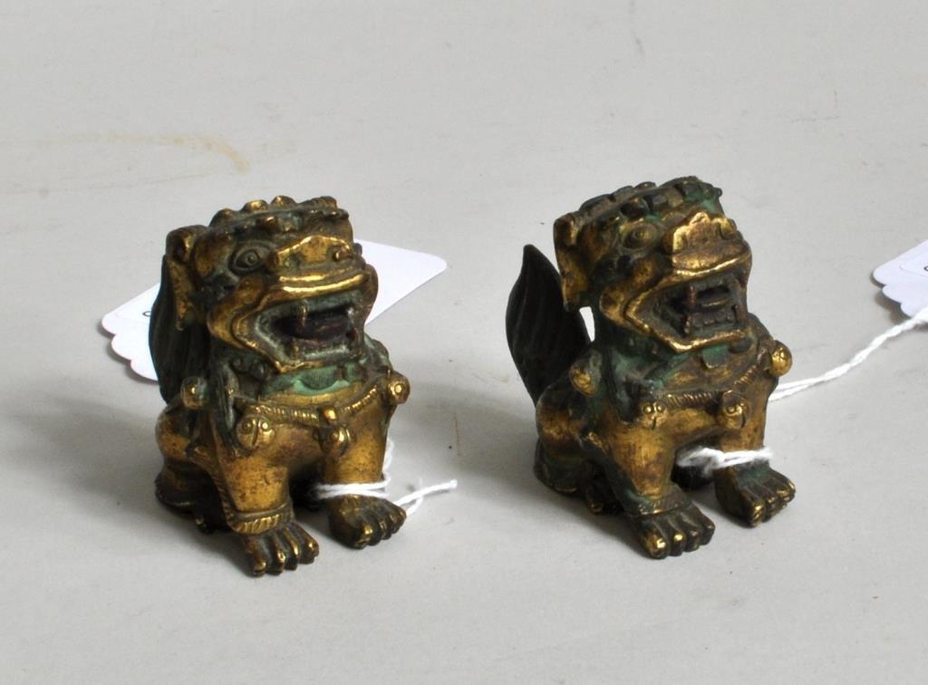 Pair Chinese Gilt Bronze Fu Lions